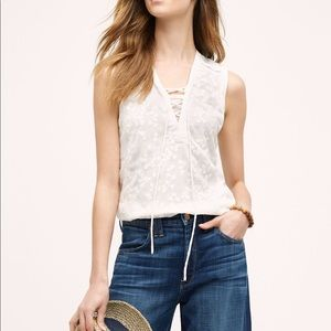 Anthropologie Maeve Embroidered Lace Up Tank Top